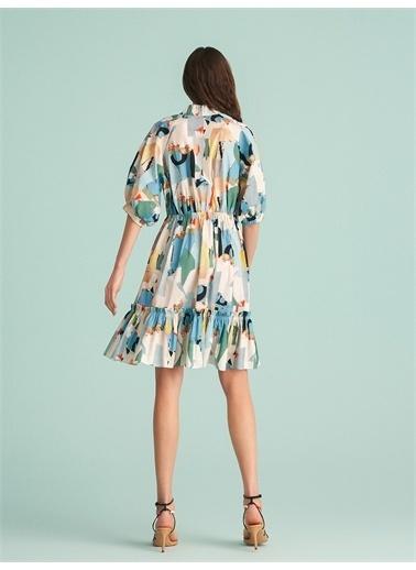 Nocturne Yakası Büzgülü Desenli Elbise Renkli